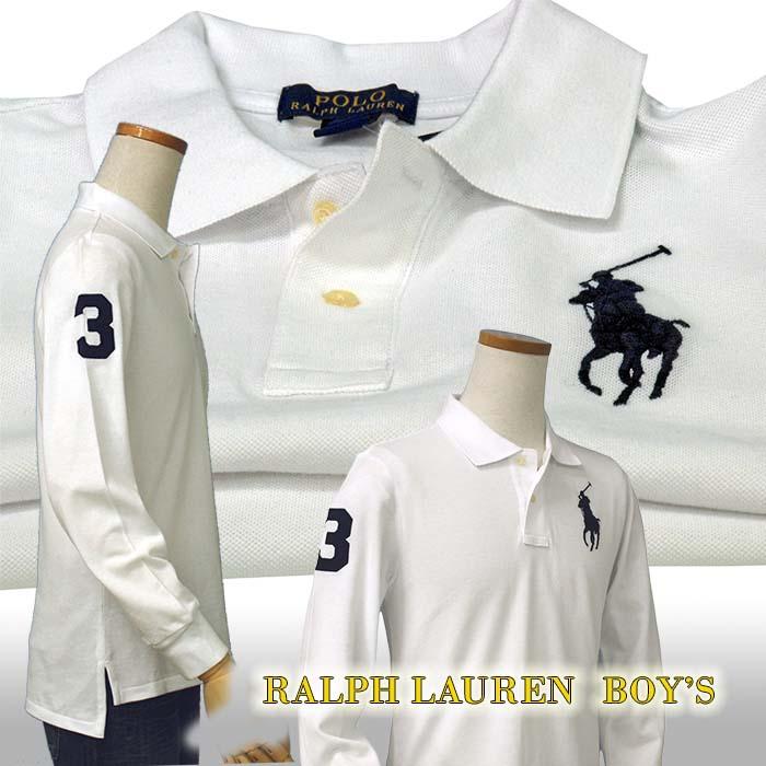 ラルフローレン ビッグポニー 長袖 鹿の子ポロシャツ ホワイト