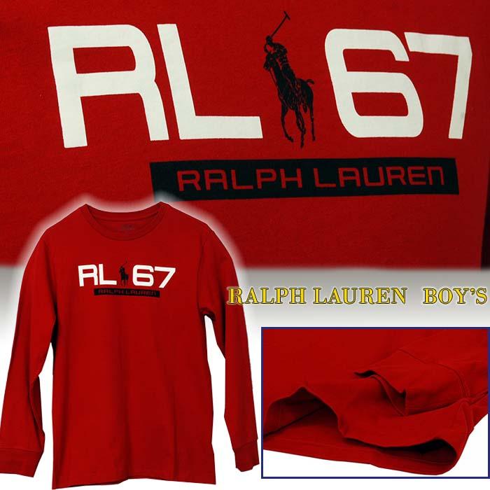 ラルフローレン RL67プリント 長袖Tシャツ レッド