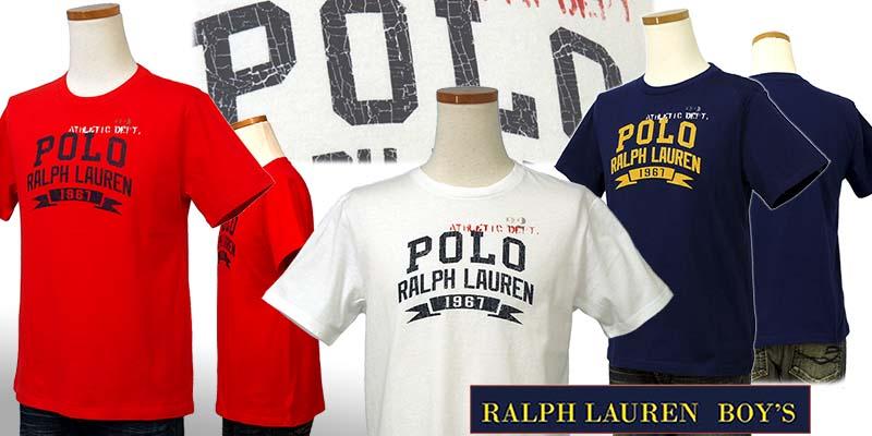 ラルフローレン POLOロゴ ビンテージプリント半袖Tシャツ ネイビー ホワイト レッド