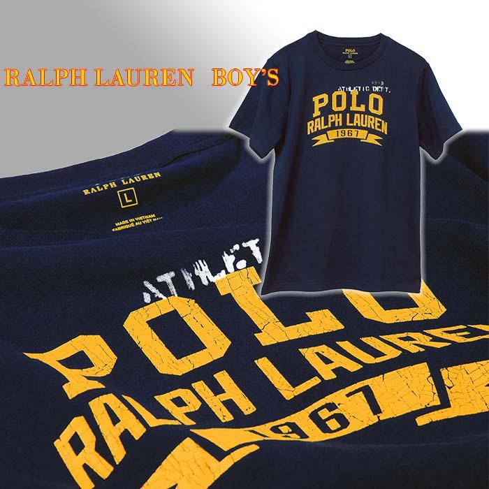 ラルフローレン POLOロゴ ビンテージプリント半袖Tシャツ ネイビー