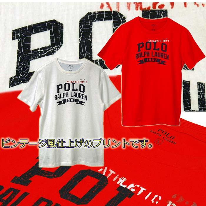 ラルフローレン POLOロゴ ビンテージプリント半袖Tシャツ ホワイト レッド