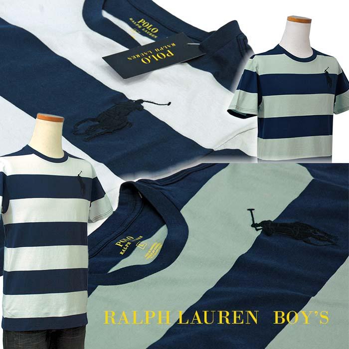 ラルフローレン ビッグポニー ボーダー半袖Tシャツ ブルー ホワイト ネイビー