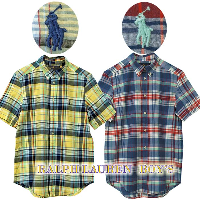 ラルフローレン 半半袖マドラスチェックシャツ