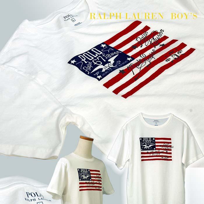 ラルフローレン USフラッグ プリント半袖Tシャツ ホワイト 白