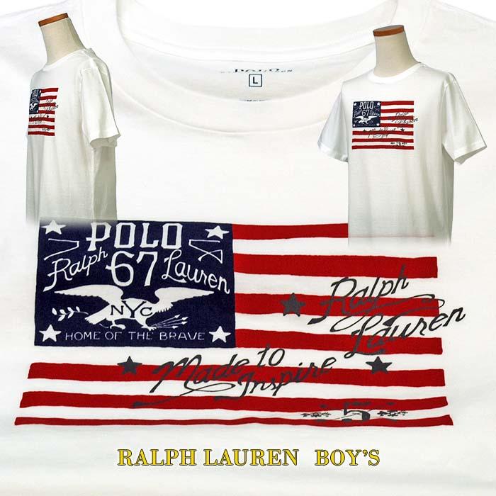 ラルフローレン USフラッグ プリント半袖Tシャツ ホワイト 星条旗 フラッグ