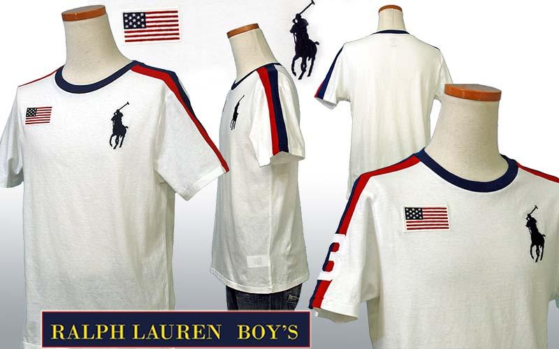 ラルフローレン ビッグポニー フラッグ刺繍 半袖ライン入りTシャツ ホワイト