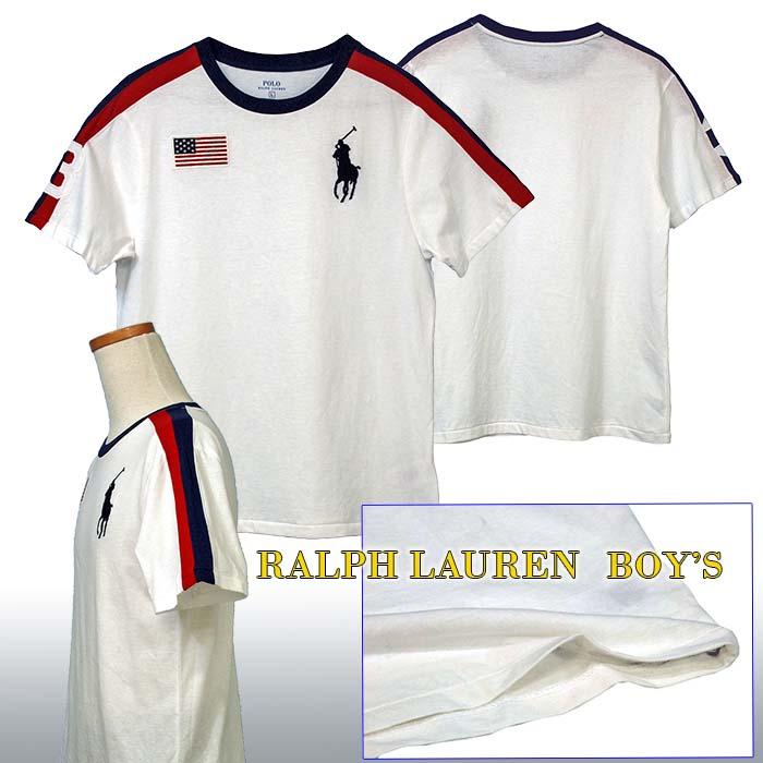 ラルフローレン ビッグポニー フラッグ刺繍 半袖ライン入りTシャツ