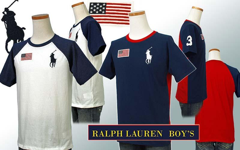 ラルフローレン ビッグポニー フラッグ刺繍 半袖ベースボールTシャツ