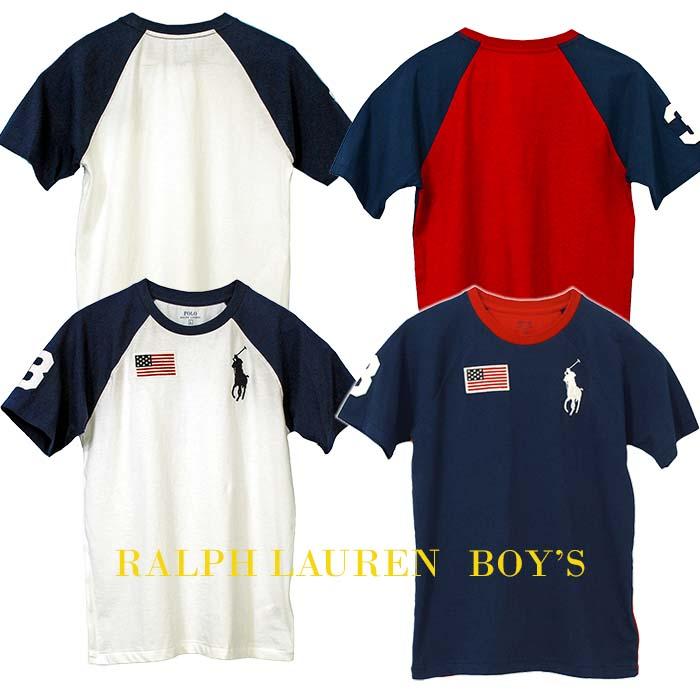ラルフローレン ビッグポニー フラッグ刺繍 半袖ベースボールTシャツ ホワイト ネイビー