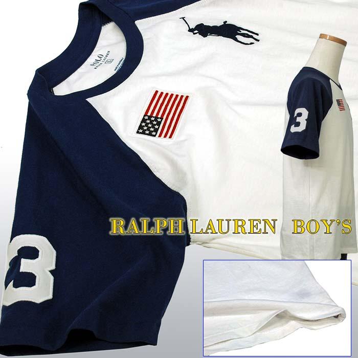 ラルフローレン ビッグポニー フラッグ刺繍 半袖ベースボールTシャツ ホワイト 星条旗 ネイビー