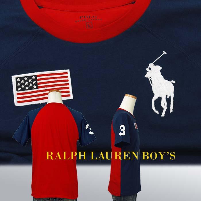 ラルフローレン ビッグポニー フラッグ刺繍 半袖ベースボールTシャツ ネイビー 星条旗 レッド