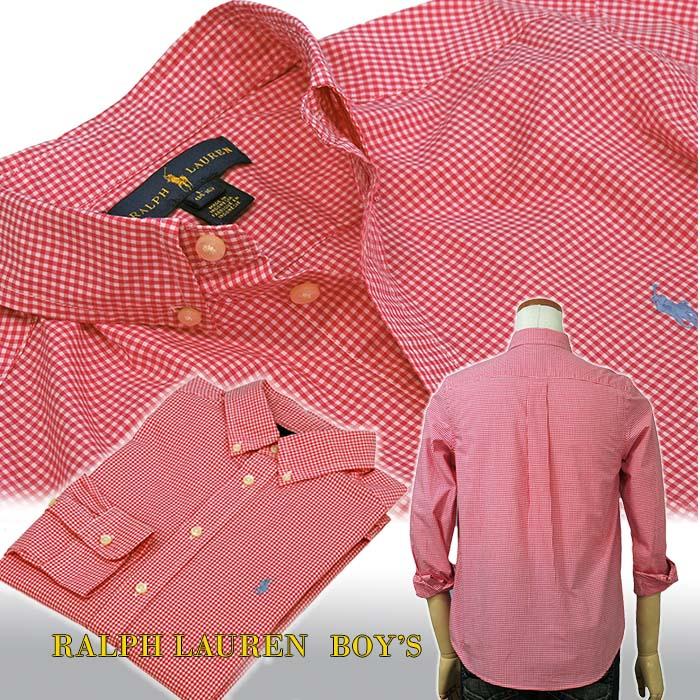 ラルフローレン ギンガムェック ボタンダウンシャツ  ピンク ホワイト