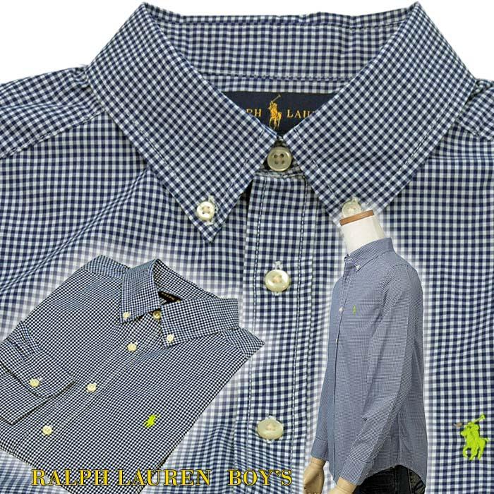 ラルフローレン ギンガムェック ボタンダウンシャツ ブルー ホワイト