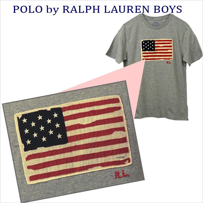 ラルフローレン USAフラッグ半袖Tシャツレッド/ネイビー/グレー