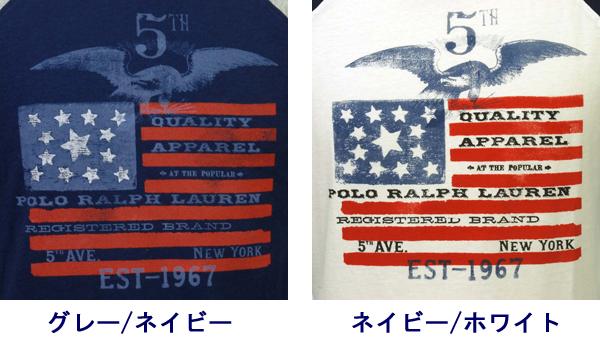 ラルフローレン コットン グラフィック ベースボール Tシャツ ネイビー ホワイト