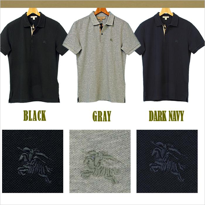 バーバリー 半袖鹿の子ポロシャツ ネイビー/グレー/ブラック