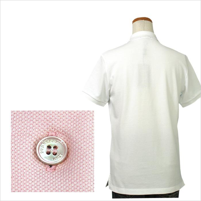 バーバリー 半袖鹿の子ポロシャツ 後ろ見とボタン拡大