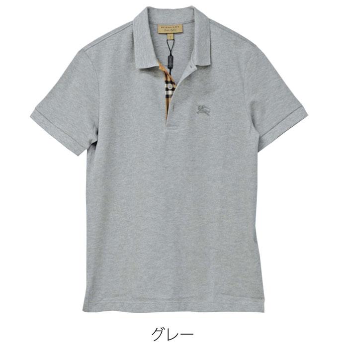 バーバリー 半袖鹿の子ポロシャツ グレー