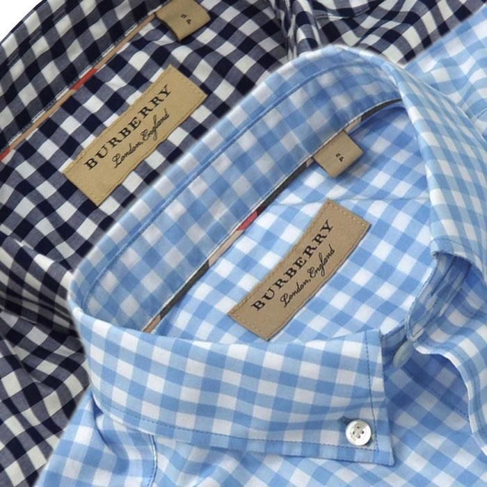 バーバリー 半袖ギンガムチェックシャツ ネイビー ブルー