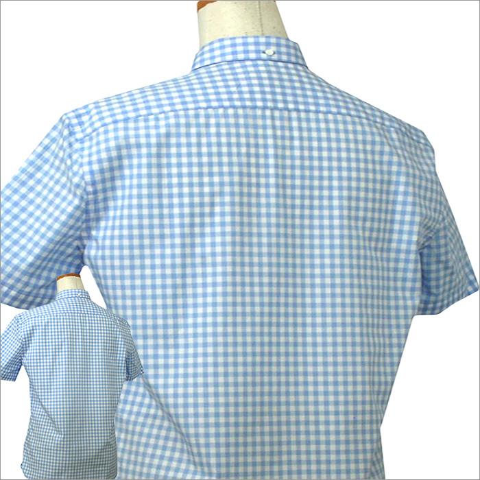 バーバリー 半袖ギンガムチェックシャツ ブルー