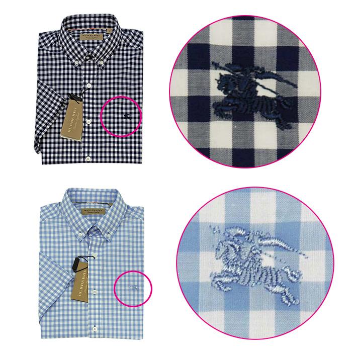 バーバリー 半袖ギンガムチェックシャツ