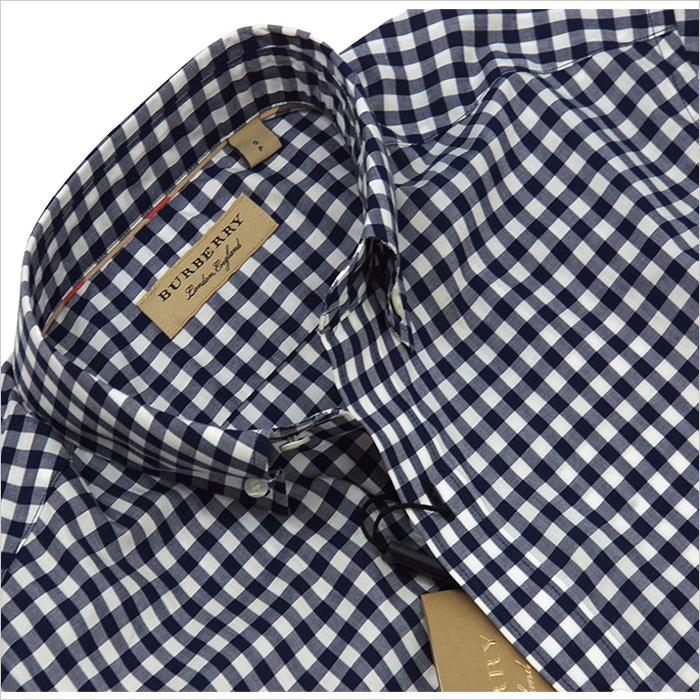 バーバリー 半袖ギンガムチェックシャツ ネイビー