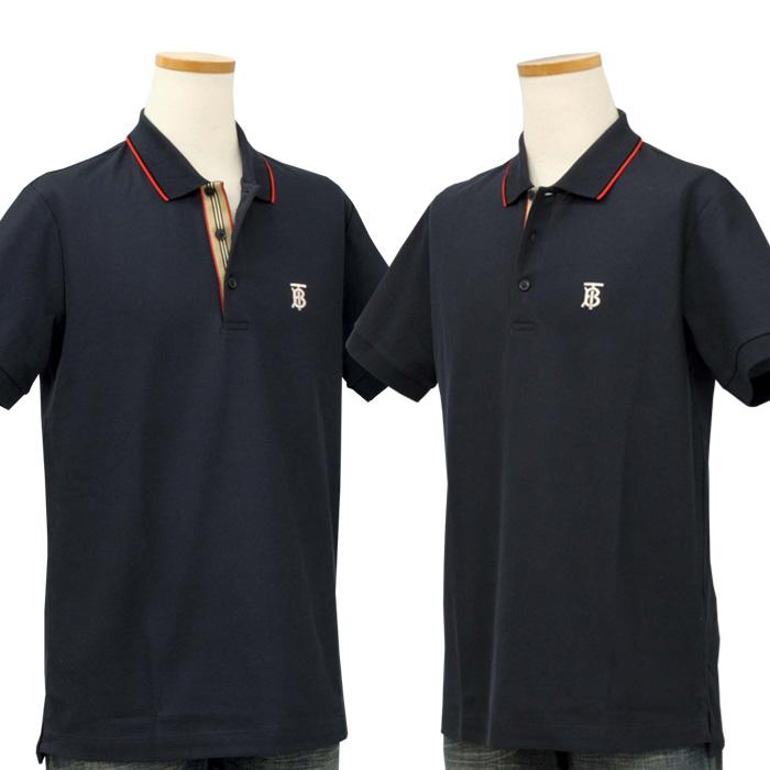 バーバリー アイコンストライプ プラケット コットンピケ 半袖ポロシャツ ネイビー