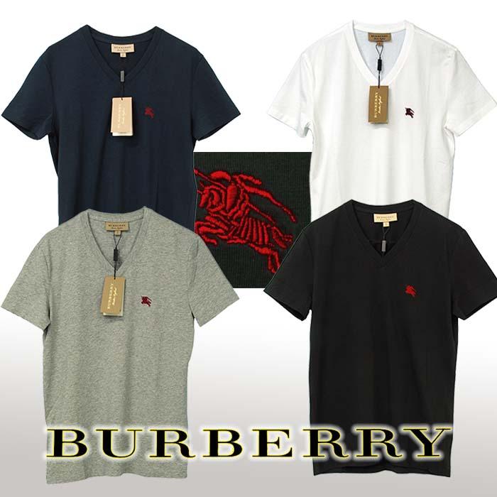 バーバリー Vネック 半袖Tシャツ ネイビー ホワイト