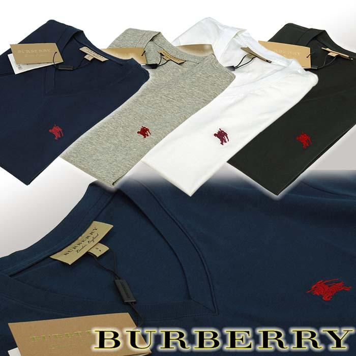 バーバリー 半袖 VネックTシャツ ネイビー ホワイト ブラック グレー