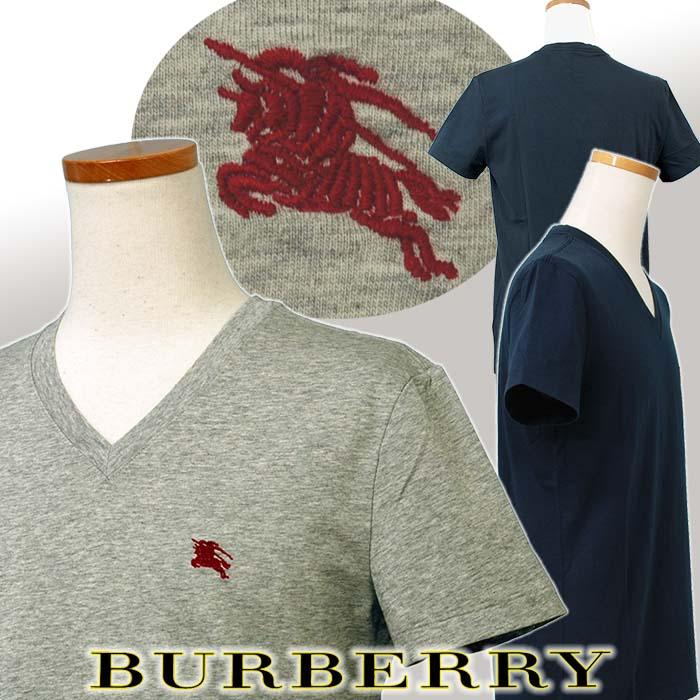 バーバリー 半袖 VネックTシャツ ネイビー グレー