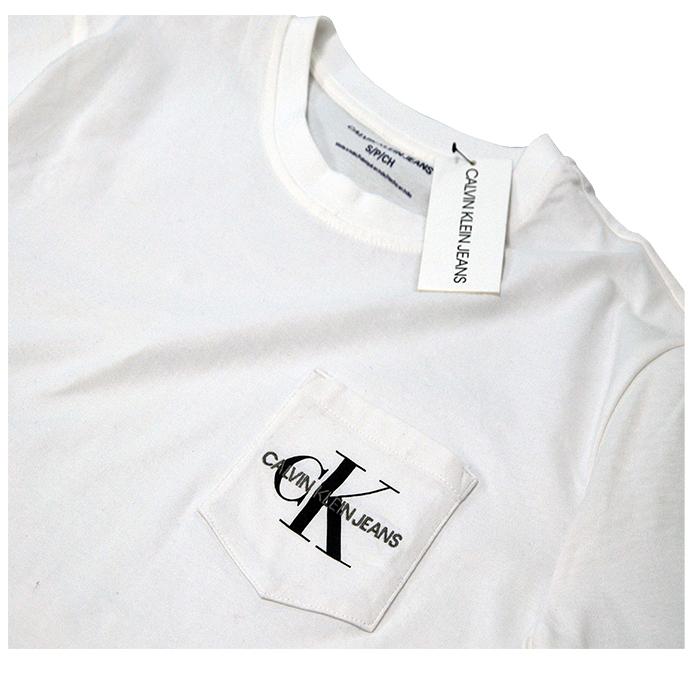 カルバンクライン  ポケット付CKロゴ半袖Tシャツホワイト