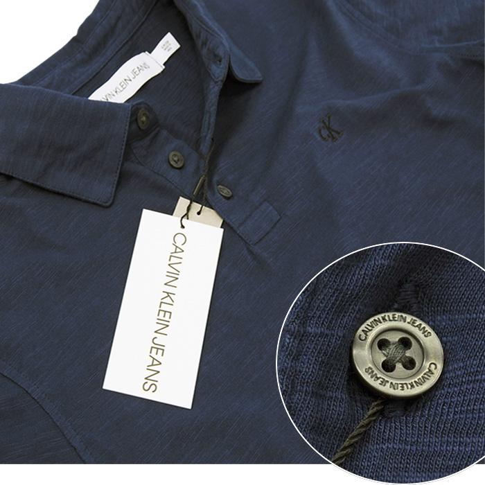 カルバンクライン  CKロゴ刺繍 スラブ生地 半袖ポロシャツネイビー
