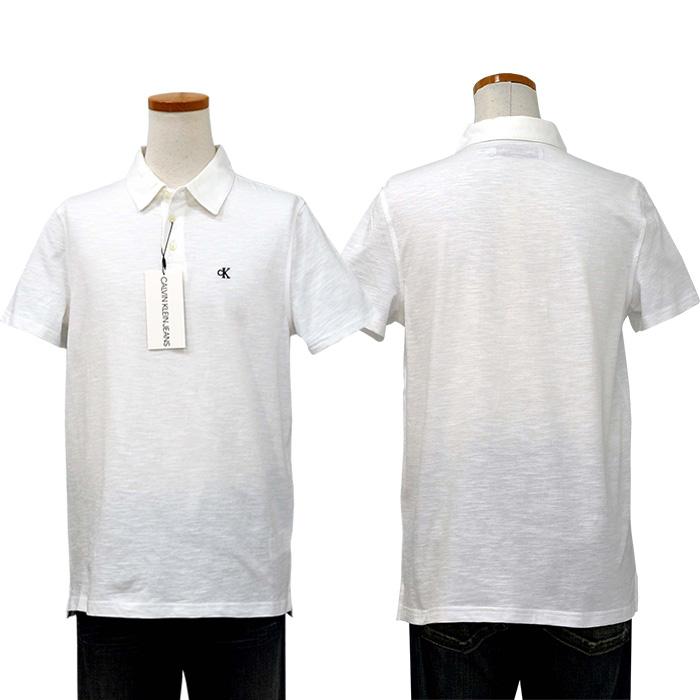 カルバンクライン  CKロゴ刺繍 スラブ生地 半袖ポロシャツホワイト