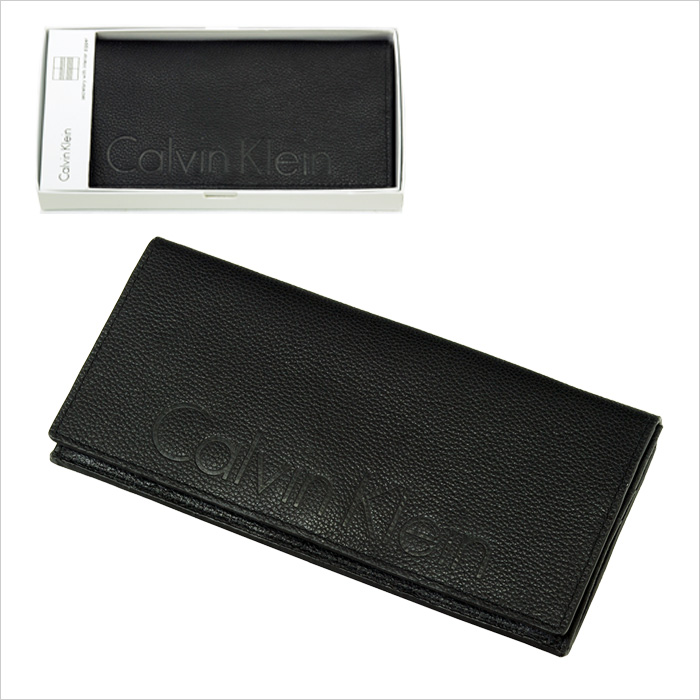 Calvin Kleinロゴが入った二つ折り長財布。ギフトボックス入っおり、ギフトにも最適。
