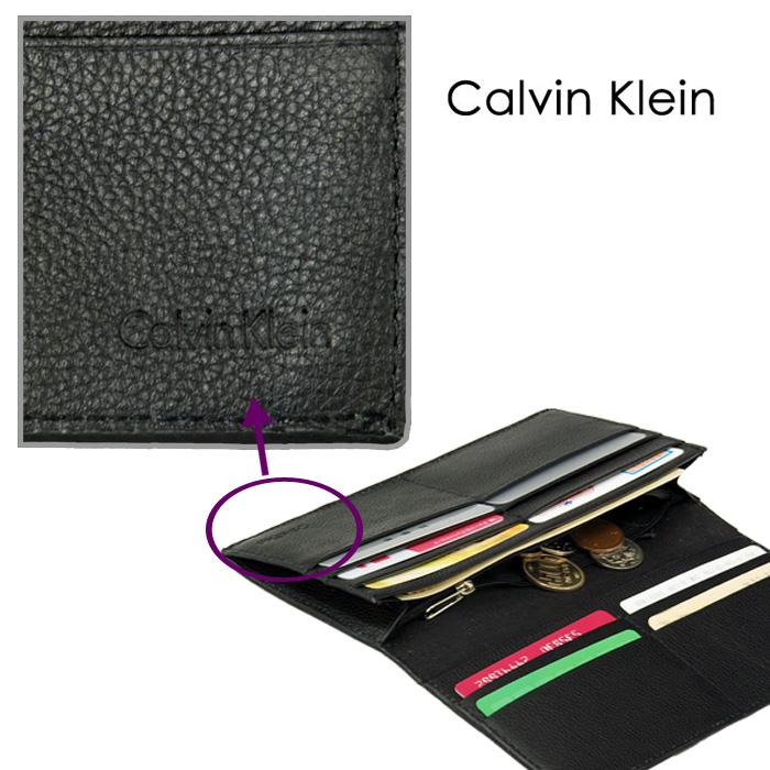 Calvin Kleinロゴ 長財布、ギフトボックス入り  優しい手触りのカーフ(牛革)を使用