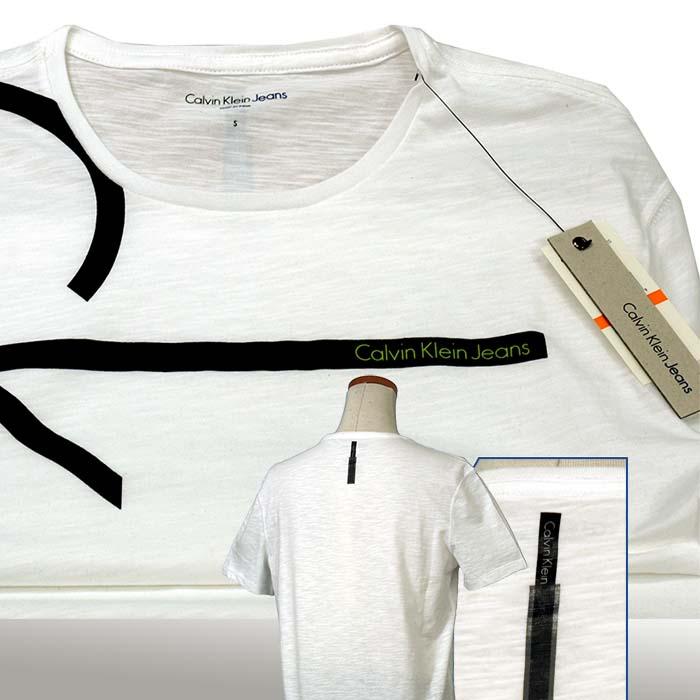 カルバンクライン  CKバーティカルロゴ プリント半袖Tシャツ 綿100%