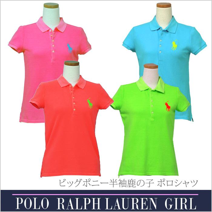 ラルフローレン ガールズ ビッグポニー半袖鹿の子ポロシャツ
