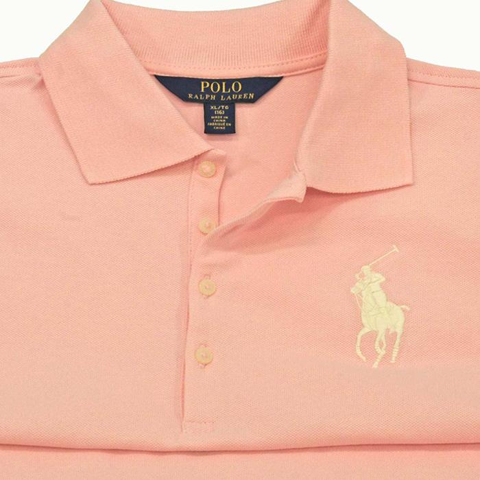 ラルフローレン ガールズ ビッグポニー半袖鹿の子ポロシャツピンク