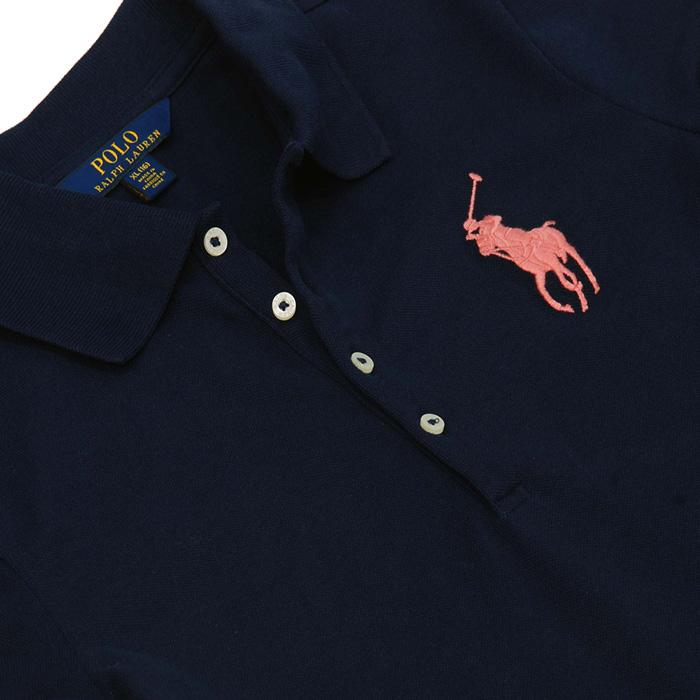 ラルフローレン ガールズ ビッグポニー半袖鹿の子ポロシャツネイビー