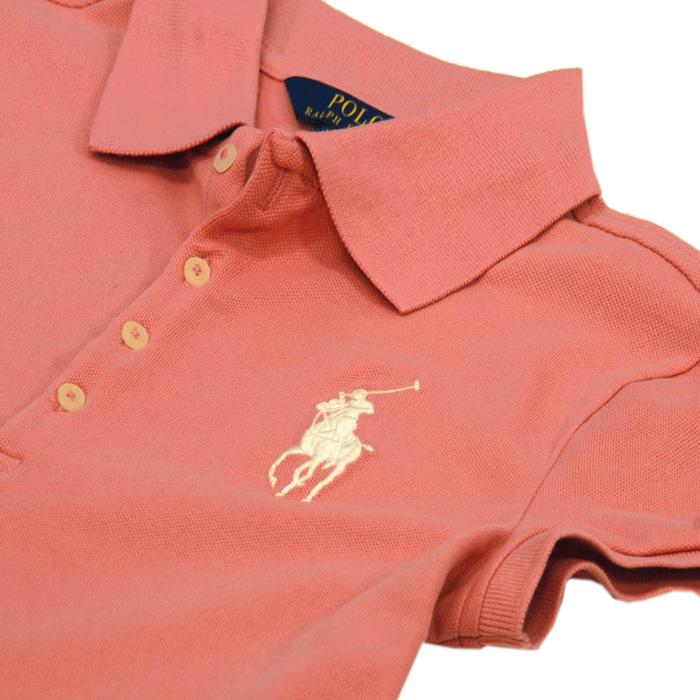 ラルフローレン ガールズ ビッグポニー半袖鹿の子ポロシャツラクビーピンク