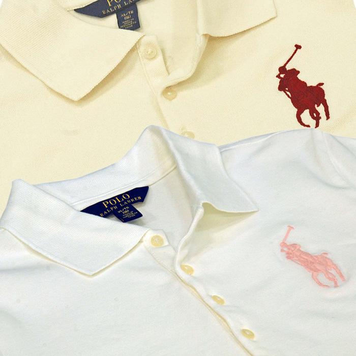 ラルフローレン ガールズ ビッグポニー半袖鹿の子ポロシャツホワイト/クリーム