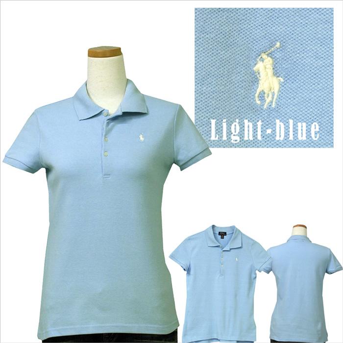 ラルフローレン ガールズ 半袖鹿の子ポロシャツ ライトブルー