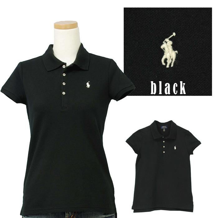 ラルフローレン ガールズ 半袖鹿の子ポロシャツ ブラック