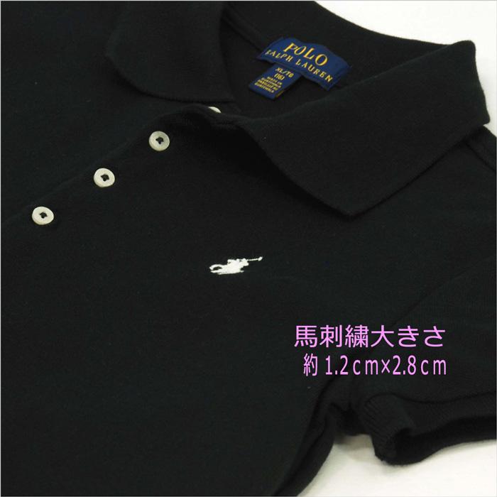 ラルフローレン ガールズ ビッグポニー半袖鹿の子ポロシャツ ブラック