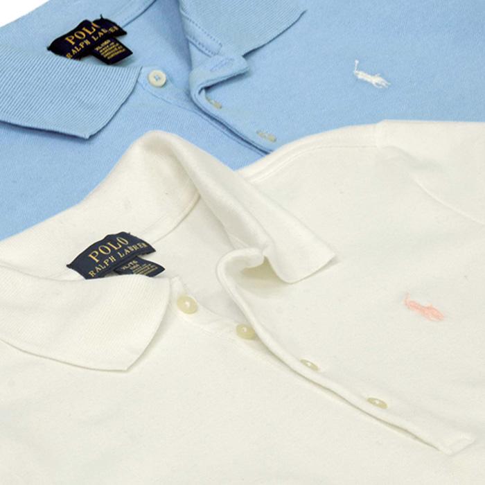 ラルフローレン ガールズ ビッグポニー半袖鹿の子ポロシャツ ホワイト/ライトブルー