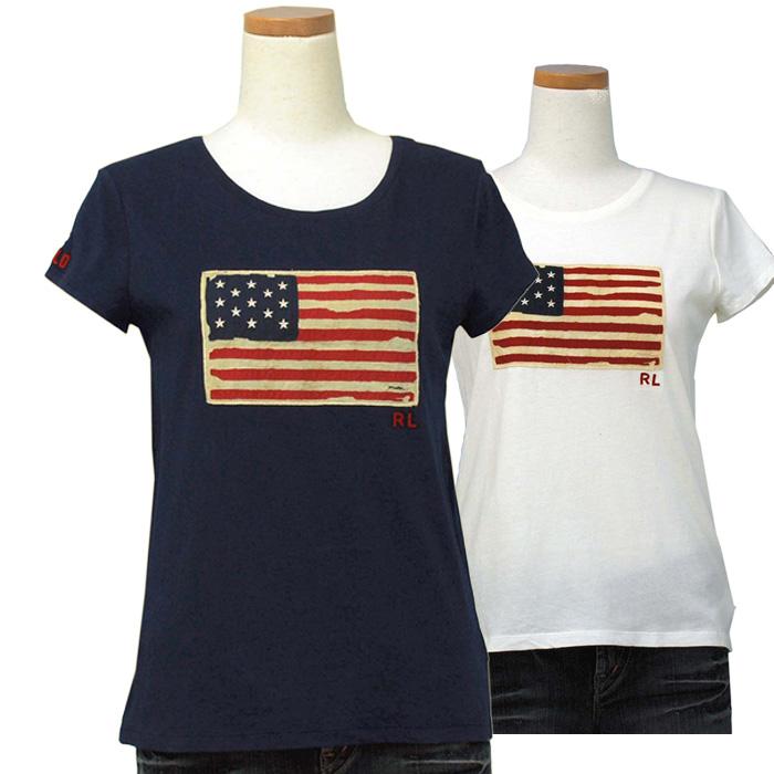 ラルフローレン ガールズ USフラッグ キャップスリーブTシャツ  ホワイト ネイビー