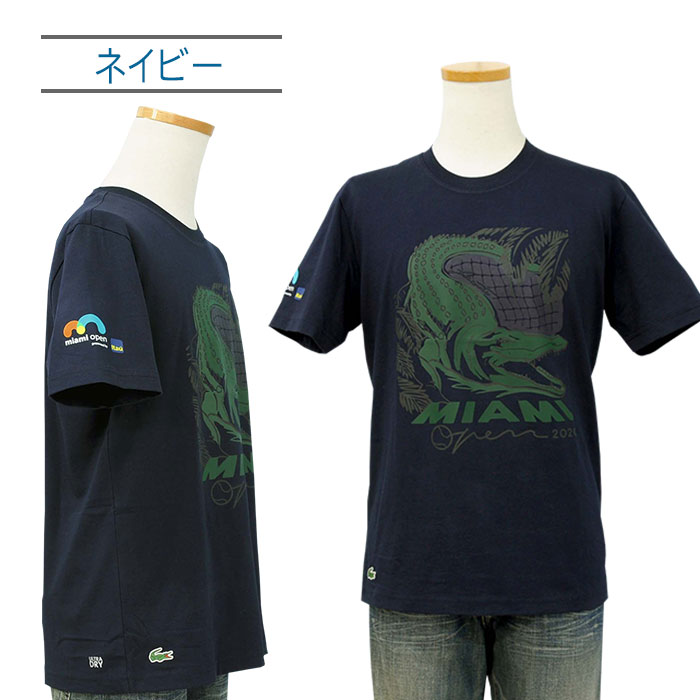 Lacoste ラコステ 半袖 マイアミオープンクロコダイルプリントTシャツ ネイビー