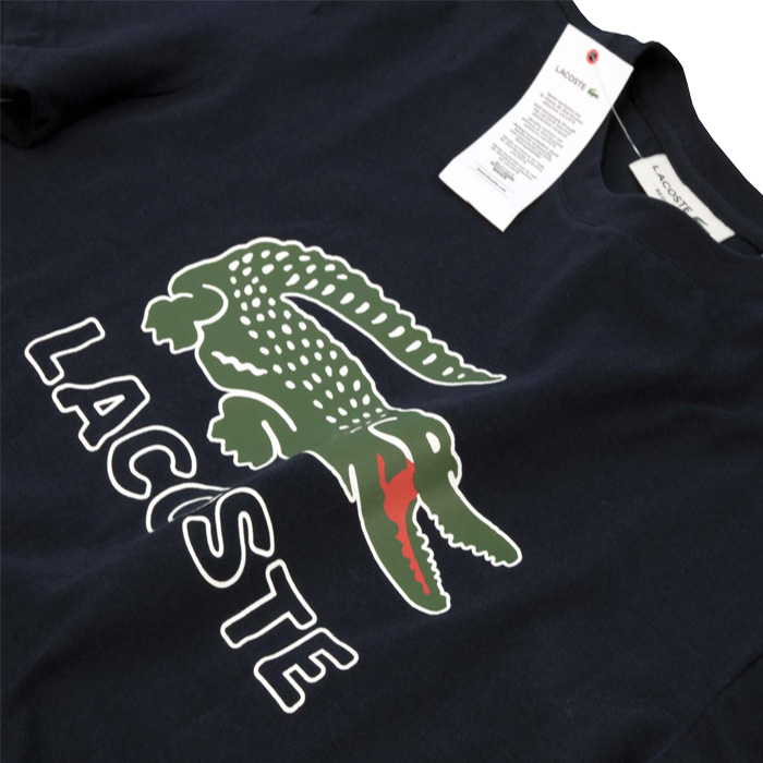 Lacoste ラコステ ビッグラコステ半袖プリントTシャツネイビー