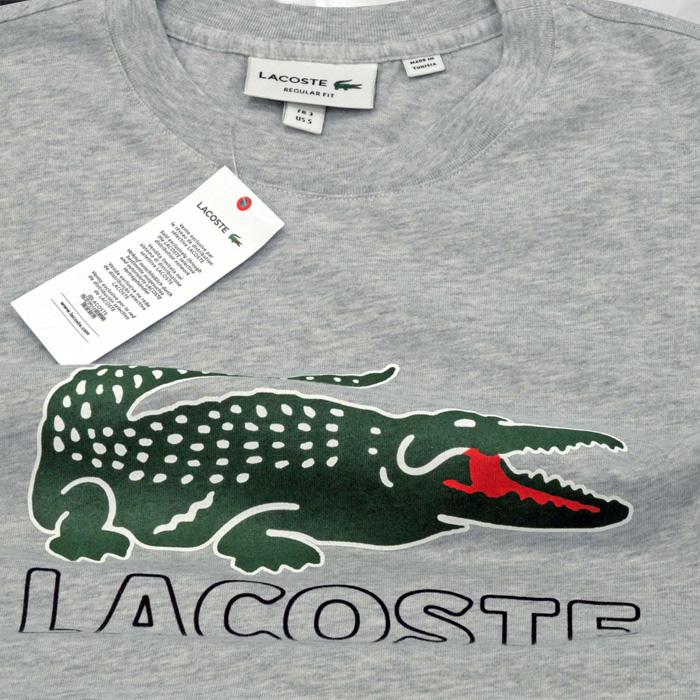 Lacoste ラコステ ビッグラコステ半袖プリントTシャツグレー
