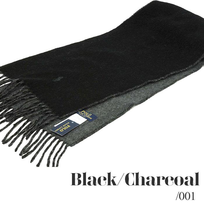 ラルフローレン リバーシブル マフラー ブラック チャコール2018年モデル